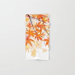 orange maple leaves watercolor Hand & Bath Towel