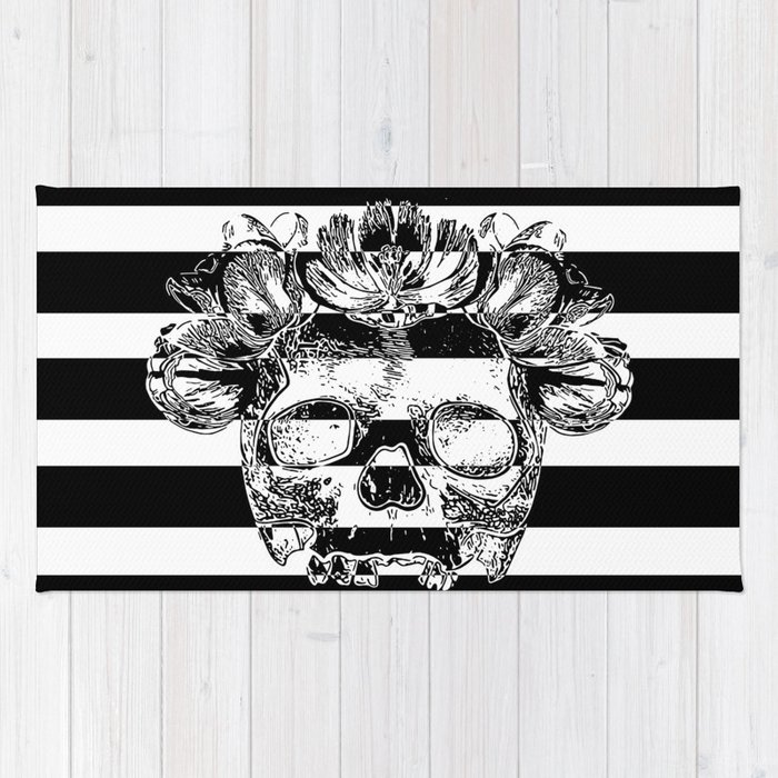 Skull With Flower Crown - Black and white stripes Rug