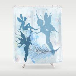Blue Fairies Playing Shower Curtain