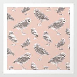 Burrowing Owl on Pale Dogwood Art Print