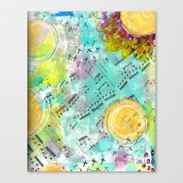 Mixed Media Music and Flowers Canvas Print