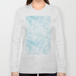 Elegant pastel blue white modern marble Long Sleeve T-shirt
