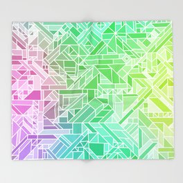 Bright Gradient (Violet Purple Lime Green Neon Yellow) Geometric Pattern Print Throw Blanket