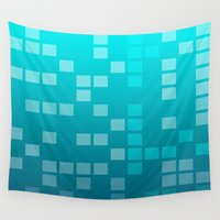 techno Wall Tapestries featuring Techno blue background by Iren Liashen