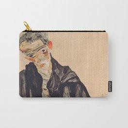"Egon Schiele ""Selbstbildnis als Halbakt in schwarzer Jacke (Self-portrait in a black jack)"" Carry-All Pouch"
