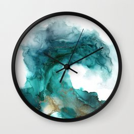 Wild Wave - alcohol ink painting, abstract wave, fluid art, teal, gold colored accents Wall Clock