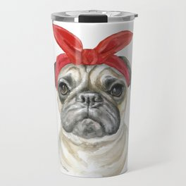 Pug with a Red Bandana Watercolor Travel Mug