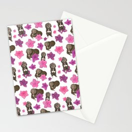 Fluffy Dogs and Blooming Azalea Floral Seamless Pattern Stationery Cards