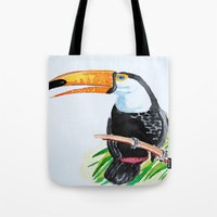 toucan Tote Bags featuring Toucan by The Traveling Catburys