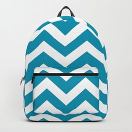 Bondi blue - blue color - Zigzag Chevron Pattern Backpack