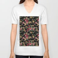 vintage flowers V-neck T-shirts featuring Vintage Flowers by Eduardo Doreni