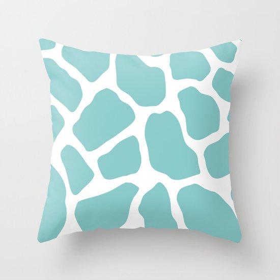 Sky Blue Throw Pillow : Sky Blue Giraffe Print Throw Pillow by Zen And Chic Society6