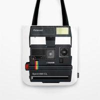 polaroid Tote Bags featuring Polaroid by Chris Redford