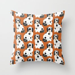 Staffordshire Dog Figurines No. 2 in Terracotta Throw Pillow