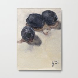 Black Olives Still Life Oil Painting Food Minimalist Impressionist Art Metal Print
