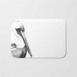 Black and White Pelican Bath Mat