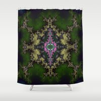 hexagon Shower Curtains featuring Fractal Hexagon by Harvey Warwick