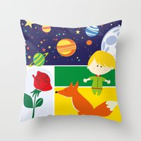 le petit prince Throw Pillows featuring Le Petit Prince by Lara Brambilla