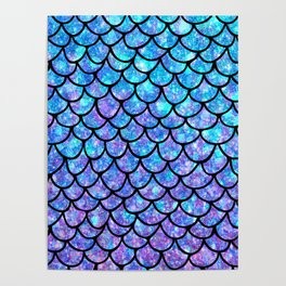 Purples & Blues Mermaid scales Poster