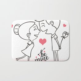 Valentines Day Special Love Couple Bath Mat