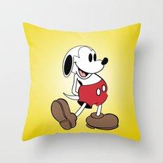 Mickey x Snoopy Throw Pillow