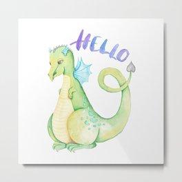 Watercolor Hello Dinosaur Illustration Metal Print