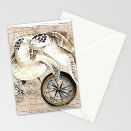 Sea Turtles Compass Map Stationery Cards