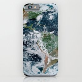 Four Tropical Hurricanes On Planet Earth from Space Satellite Photograph iPhone Case