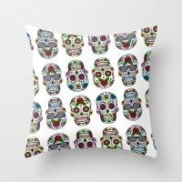sugar skulls Throw Pillows featuring Sugar skulls by very giorgious