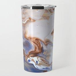 Blue Brown Abstract Fluid Modern art Travel Mug