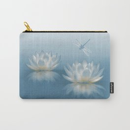 Blue Lotus and Dragonfly Carry-All Pouch