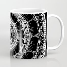 Circle - Mandala - Love Wealth Health Youthfulnes - Black White Coffee Mug