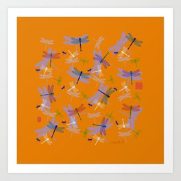 Square Dragonfly Pattern With Orange Background Art Print