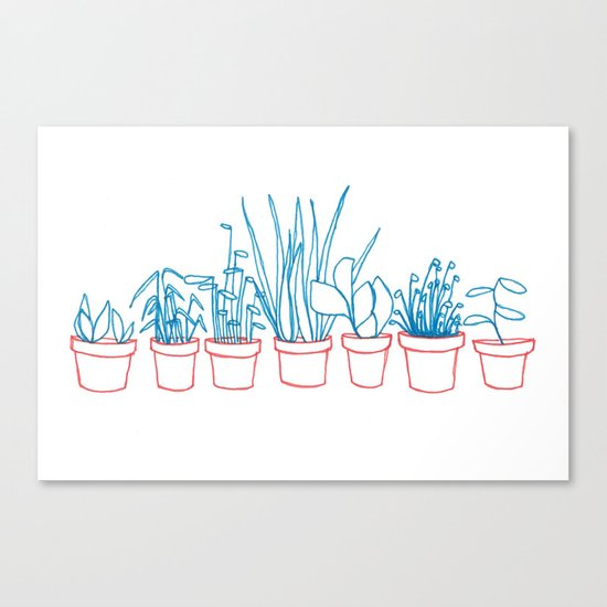 Teal Plants in Red Pots Canvas Print