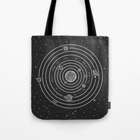 solar system Tote Bags featuring SOLAR SYSTEM by Mírë