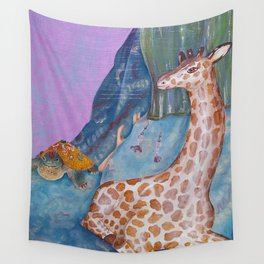 Turtle and the Giraffe Wall Tapestry