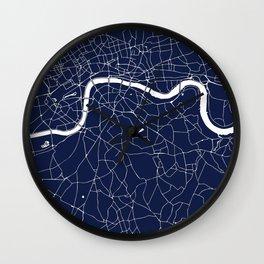 Navy on White London Street Map Wall Clock