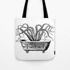Tentacles in the Tub | Octopus | Black and White Tote Bag