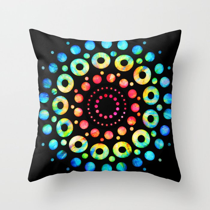 Multi-Color Mandala Tie-Dye Circle Shapes Throw Pillow