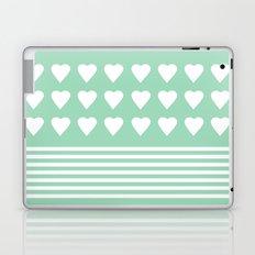 Heart Stripes Mint Laptop & iPad Skin