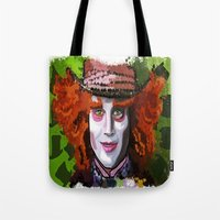 mad hatter Tote Bags featuring Mad Hatter by grapeloverarts