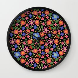 Folk Art Style Floral Wall Clock