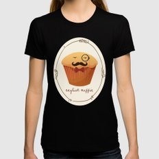 English Muffin SMALL Black Womens Fitted Tee