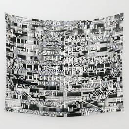 Confused Images Behind the Interface (P/D3 Glitch Collage Studies) Wall Tapestry