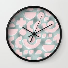 Memphis Pattern - Gemetrical  Retro Art in Pink and Mint -  Mix & Match With Simplicity Of Life Wall Clock