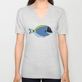 Powder Blue Tropical Fish Illustration Unisex V-Neck