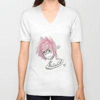 notebook V-neck T-shirts featuring Matt Notebook Doodle by DJRB13