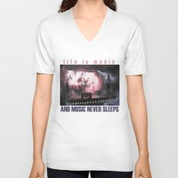 theatre V-neck T-shirts featuring Lotus Theatre by Miquel Cazanya
