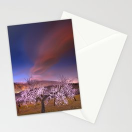 Lenticular clouds over Almond trees Stationery Cards