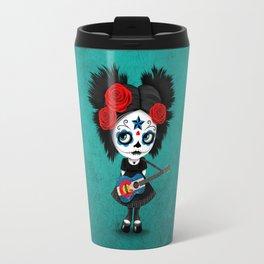 Day of the Dead Girl Playing Colorado Flag Guitar Travel Mug